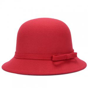 Chic Lace-Up and Bar Bowknot Felt Bowler Hat For Women -