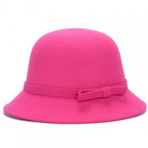 Chic Lace-Up and Bar Bowknot Felt Bowler Hat For Women