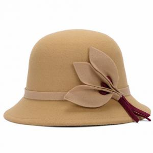 Chic Solid Color Leaves and Lace-Up Felt Bowler Hat For Women -