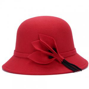 Chic Solid Color Leaves and Lace-Up Felt Bowler Hat For Women