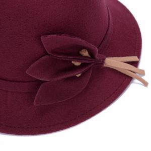 Chic Solid Color Leaves and Lace-Up Felt Bowler Hat For Women - COLOR ASSORTED