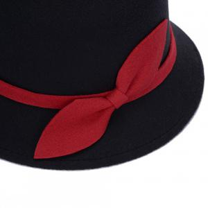 Elegant Vintage Style Lace-Up and Bowknot Felt Bowler Hat For Women -