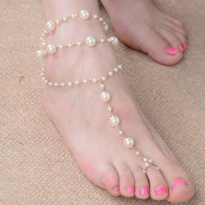 Graceful Faux Pearl Layered Anklet For Women - GOLDEN