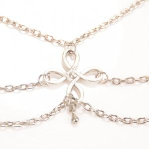 Vintage Chinese Knot Layered Chain Tassel Feet Anklet - SILVER