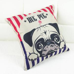 Simple Linen Dog Pattern Decorative Pillowcase (Without Pillow Inner) -