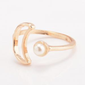 Faux Pearl Moon Cuff Ring - GOLDEN ONE-SIZE