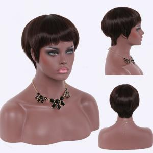 Stunning Ultrashort Full Bang Black Brown Capless Straight High Temperature Fiber Women's Wig