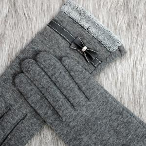 Pair of Chic Faux Leather Small Bow and Fake Fur Embellished Gloves For Women -