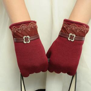 Pair of Chic Lace and Rhinestone Buckle Embellished Gloves For Women -