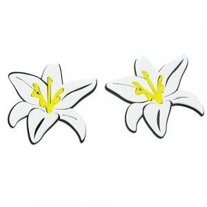 Pair of Alloy Lily Flower Stud Earrings - WHITE