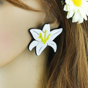Pair of Alloy Lily Flower Stud Earrings -