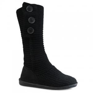 Stylish Knitting and Button Design Women's Snow Boots - Black - 39