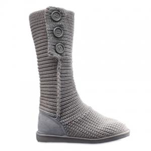 Stylish Knitting and Button Design Women's Snow Boots - Gray - 38