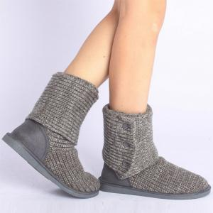 Stylish Knitting and Button Design Women's Snow Boots -