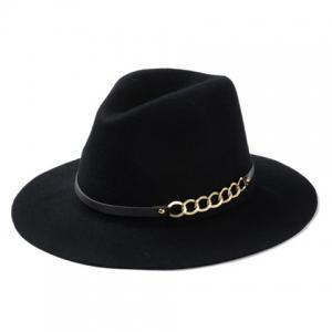 Chic Hollow Out Chain Strappy Embellished Felt Jazz Hat For Women
