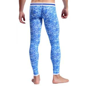 Elegant Low Waist Blue Enchantress Print Suture Stripes Hit Color Penis Pouch Men's Long Johns Pants -