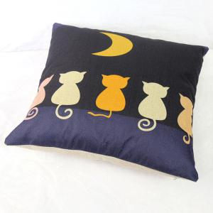 Funny Linen Cat Pattern  Decorative Pillowcase (Without Pillow Inner) - COLORMIX