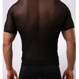 Voile Design Breathable Round Neck Sexy Short Sleeve Perspective Men's T-Shirt - BLACK M