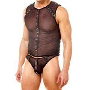 Voile PU-Leather Splicing Rivet Design Sexy Perspective Men's T-Shirt and Briefs Suit -