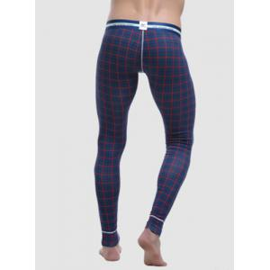 Letters Printed Elastic Waist Suture Stripes U Convex Pouch Men's Plaid Long Johns Pants -