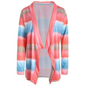 Collarless Long Sleeve Color Block Asymmetrical Knit Cardigan