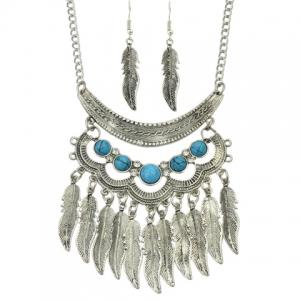 A Suit of Vintage Leaf Necklace and Earrings -