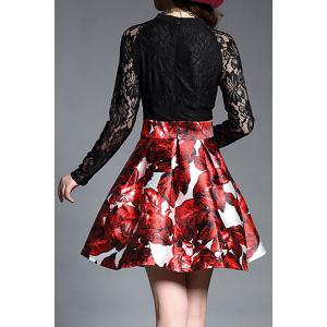 Chic Lace Splicing Long Sleeve Print Jewel Neck A-Line Dress For Women -