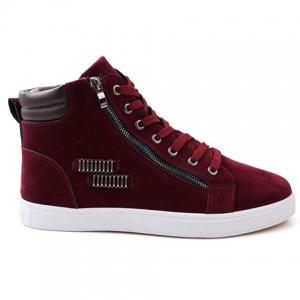 Fashionable Lace Up and Metal Design Men's Casual Shoes - RED 43