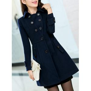 Elegant Turn-Down Collar Long Sleeves Cape Coat For Women -