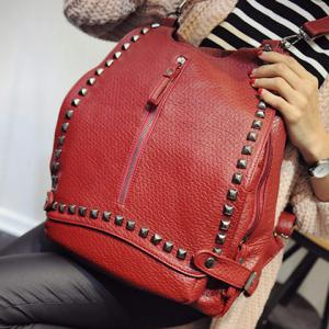 Stylish Rivet and Embossing Design Women's Satchel -