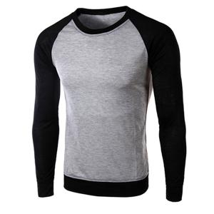 Classic Color Block Splicing Round Neck Long Sleeves Men's Slimming T-Shirt - Black And Grey - 2xl