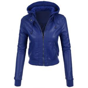 Stylish Hooded Long Sleeve Solid Color Faux Leather Spliced Women's Jacket
