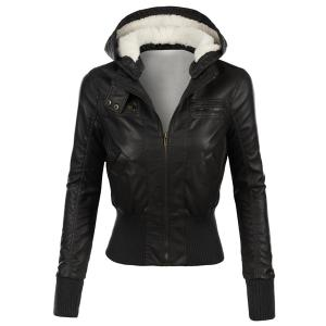 Stylish Hooded Long Sleeve Slimming Faux Leather Women's Jacket - Black - S