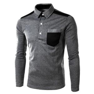 One Patch Pocket Color Block Splicing Slimming Turn-down Collar Long Sleeves Men's Polo T-Shirt - Deep Gray - M
