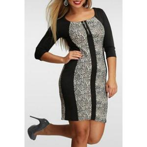 Stylish Scoop Collar 3/4 Sleeve Color Block Plus Size Women's Dress - Black And Grey - 3xl