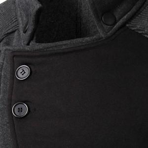 Personality Applique Inclined Zipper Fly Flap Pocket Stand Collar Long Sleeves Men's Slimming Jacket - GRAY 2XL