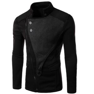 Personality Applique Inclined Zipper Fly Flap Pocket Stand Collar Long Sleeves Men's Slimming Jacket - Black - 2xl