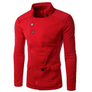 Personality Applique Inclined Zipper Fly Flap Pocket Stand Collar Long Sleeves Men's Slimming Jacket - Red - 2xl