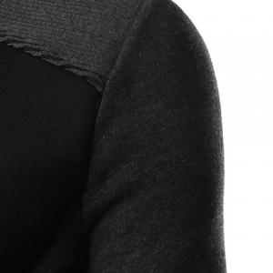 Personality Applique Inclined Zipper Fly Flap Pocket Stand Collar Long Sleeves Men's Slimming Jacket - BLACK 2XL