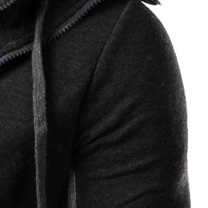 Faux Twinset Rib Spliced Double Zipper Fly Drawstring Hooded Slimming Men's Long Sleeves Hoodie -
