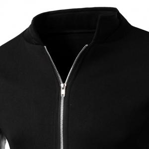 PU Leather Personality Spliced Hit Color Patch Pocket Stand Collar Long Sleeves Men's Slimming Sweatshirt - BLACK M