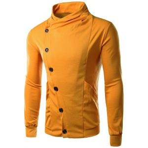 Personality Inclined Button Fly Large Pocket Stand Collar Long Sleeves Men's Slimming Sweatshirt