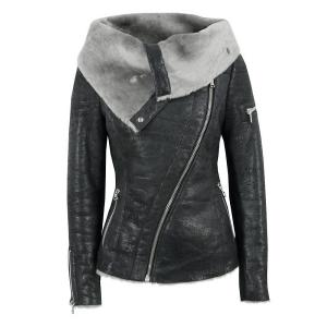 Stylish Turn-Down Collar Long Sleeve Zippered Women's Leather Black Jacket