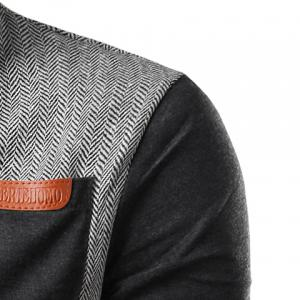 PU-Leather Spliced Patch Pocket Zig-Zag Pattern Hit Color Stand Collar Long Sleeves Men's Slimming Jacket - GRAY 2XL