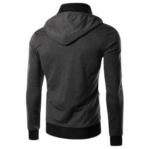 Hit Color Double Zipper Fly Stereo Flap Pocket Rib Spliced Hooded Long Sleeves Men's Faux Twinset Hoodie -