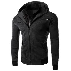 Multi-Zipper Patch Pocket Rib Spliced Hooded Long Sleeves Slimming Men's Thicken Faux Twinset Hoodie