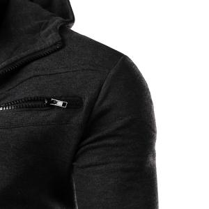 Multi-Zipper Patch Pocket Rib Spliced Hooded Long Sleeves Slimming Men's Thicken Faux Twinset Hoodie - DEEP GRAY L