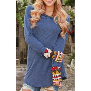 Vintage Cowl Neck Printed Long Sleeve T-Shirt For Women - Blue - M