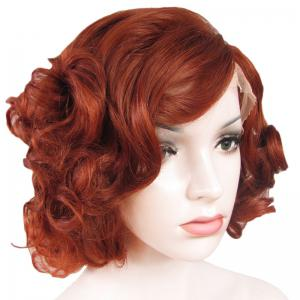 Stunning Short Brown Side Bang Synthetic Vogue Shaggy Curly Lace Front Wig For Women -