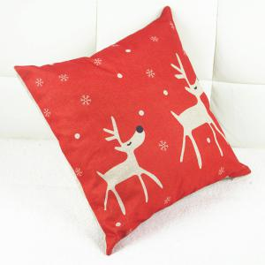 Fashion Christmas Deer Pattern Square Decorative Pillowcase (Without Pillow Inner) -